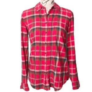Tommy Hilfiger red plaid flannel button down shirt